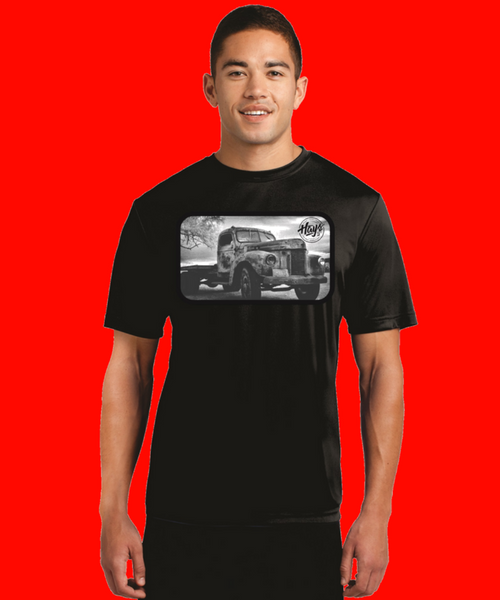black and white vintage truck custom print